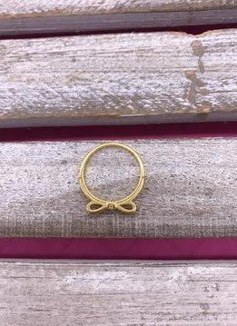 Sterling Silver Gold Plated Bow Ring with Cubic Zirconia Stones