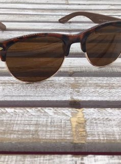 Polarized Tortoise Shell Gold Rimmed Sunglasses with Wood