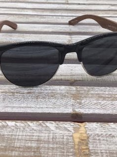 Polarized Black Silver Rimmed Sunglasses with Wood