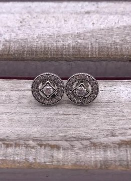 Sterling Silver Round Studs with Cubic Zirconia