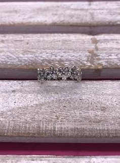 Sterling Silver Flower Band with Cubic Zirconia