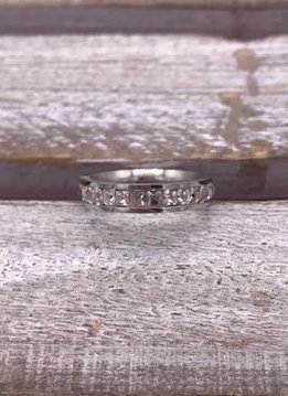 Stainless Steel Silver Cubic Zirconia Band
