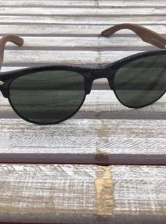 Polarized Black Rimmed Sunglasses with Wood