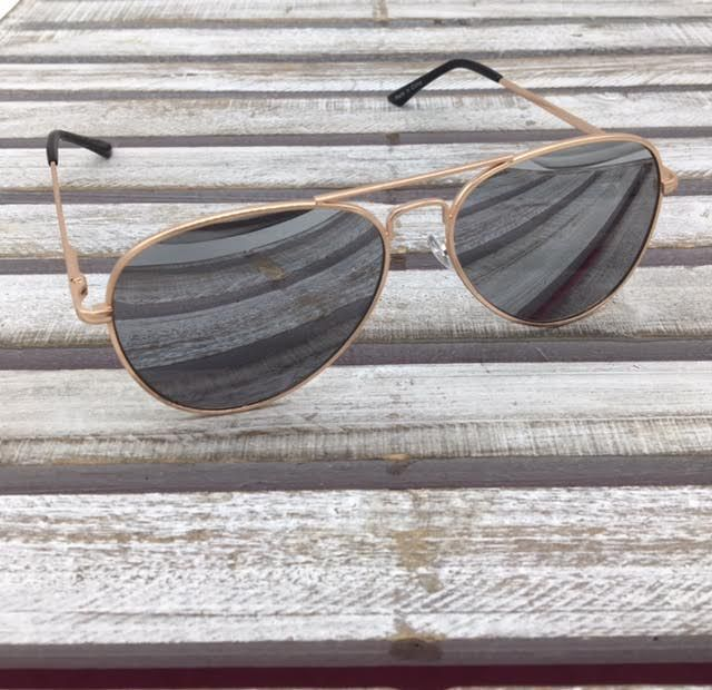 Gold Aviator Sunglasses with Gray Lenses