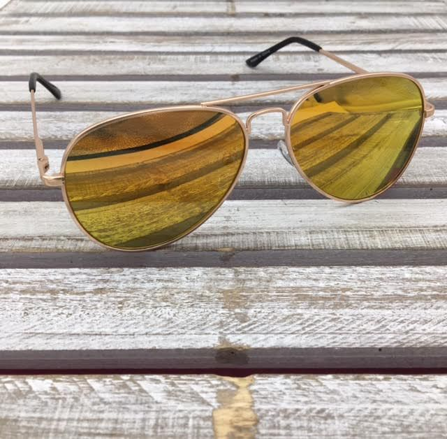Gold Aviator Sunglasses with Orange Lenses