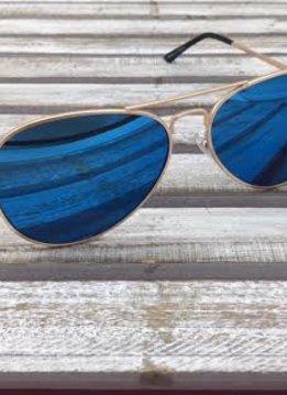 Gold Aviator Sunglasses with Blue Lenses