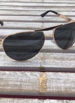 Polarized Aviator Sunglasses Black and Gold