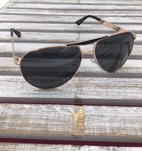 Polarized Aviator Sunglasses Black and Gold