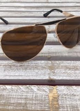 Polarized Aviator Sunglasses Brown and Gold