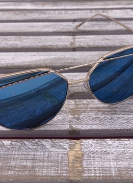 Rose Gold Frame Cat Eye Sunglasses with Blue Lenses