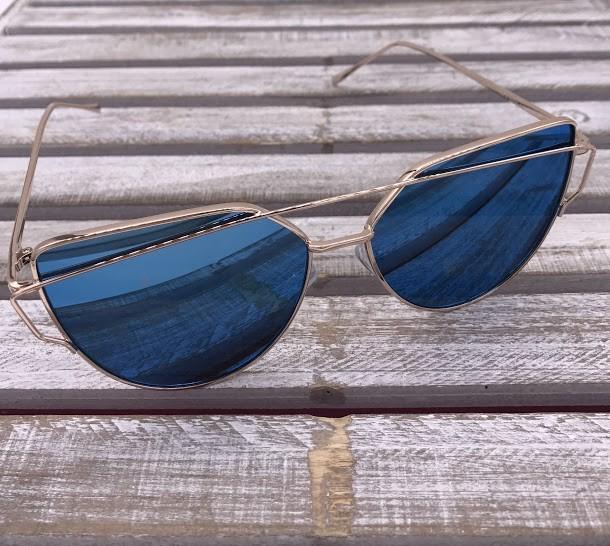 Rose Gold Frame Cat Eye Sunglasses with Blue Lenses