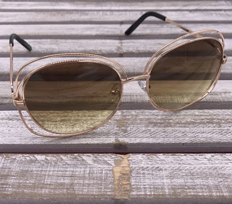 Rose Gold Frame with Brown Top and Yellow Bottom Lenses