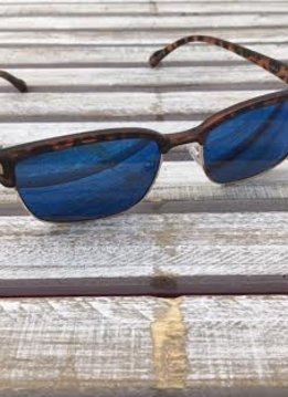 Polarized Square Lenses Sunglasses Tortoise Shell Blue
