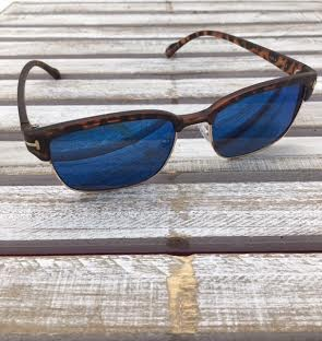 Polarized Square Lenses Sunglasses Tortoise Shell Blue