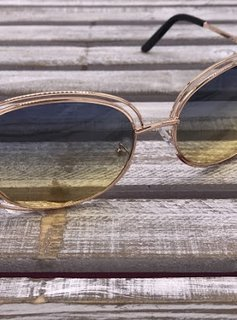 Rose Gold Frame with Navy Blue on Top and Yellow on Bottom Lenses