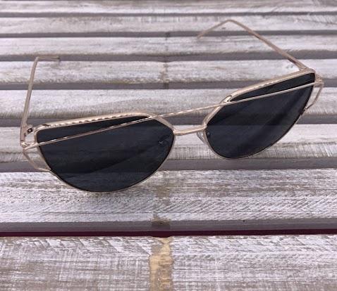 Rose Gold Cat Eye Frame with Black Lenses
