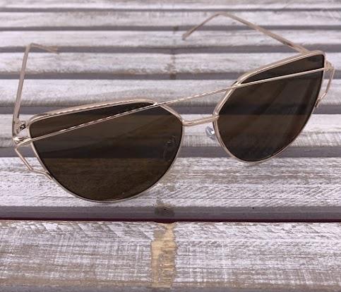Rose Gold Cat Eye Frames with Brown Lenses