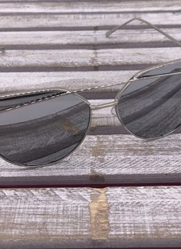 Silver Frame Cat Eye Sunglasses with Black Lenses