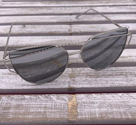 Silver Frame Cat Eye Sunglasses with Black Lenses