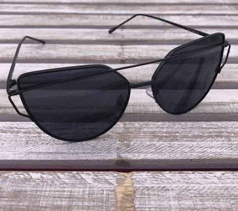Black Cat Eye Frame Sunglasses with Black Lenses