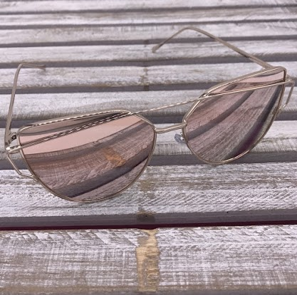 Rose Gold Cat Eye Frame Sunglasses with Pink Lenses