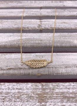 Gold Leaf Pendant with Cubic Zirconia Stones