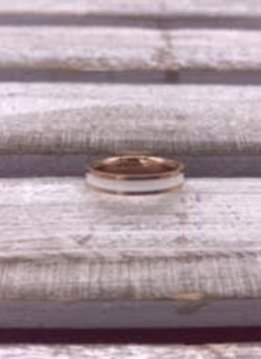 Stainless Steel Rose Gold Band with a White Band