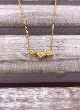 Three Tiny Gold Hearts with Cubic Zirconia Necklace