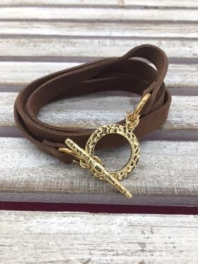 Brown Leather Wrap Bracelet with Gold Closure