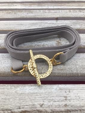 Gray Leather Wrap Bracelet with Gold Closure