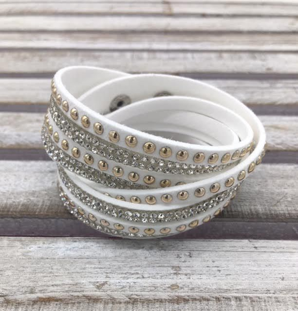White Wrap Bracelet with Round Rhinestones and Studs
