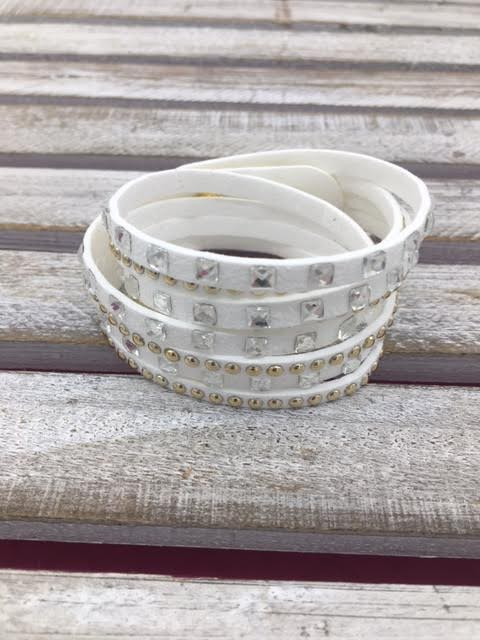 White Wrap Bracelet with Square Rhinestones and Studs