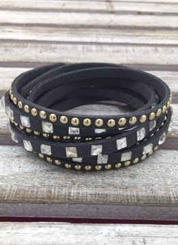 Black Wrap Bracelet with Square Rhinestones
