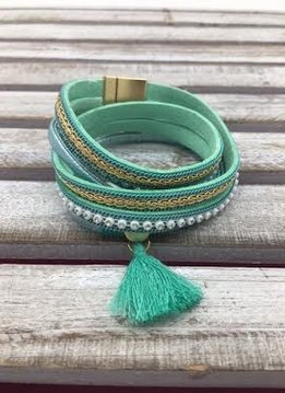 Mint Wrap Bracelet with Gold Magnetic Closure