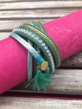 Mint Wrap Bracelet with Gold Magnetic Closure