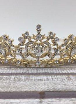 Gold Tiara with Large Rhinestones