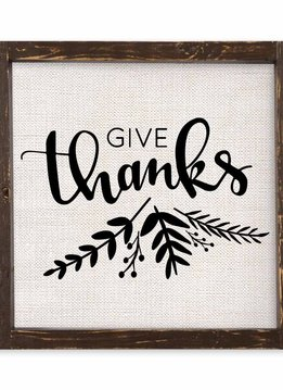 Give Thanks Linen Sign