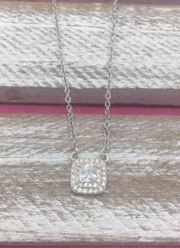 Sterling Silver Necklace with Square Pendant