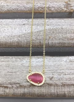 Sterling Silver Gold Plated Tear Drop Dark Pink Austrian Crystal Pendant