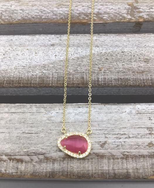 Sterling Silver Gold Plated Tear Drop Dark Pink Austrian Crystal Pendant
