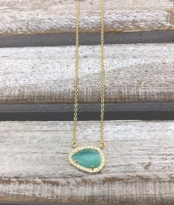 Sterling Silver Gold Plated Tear Drop Green Austrian Crystal Pendant