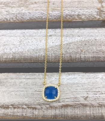 Sterling Silver Gold Plated Blue Square Austrian Crystal Pendant