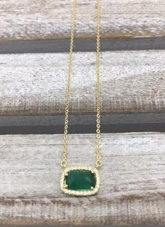 Sterling Silver Gold Plated Green Rectangle Austrian Crystal Pendant