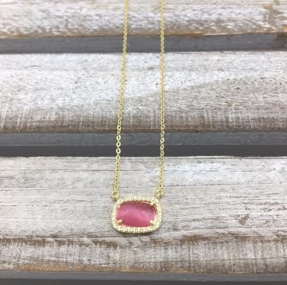 Sterling Silver Gold Plated Dark Pink Rectangle Austrian Crystal Pendant