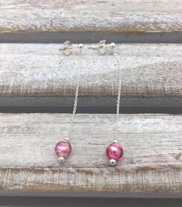 Italian Sterling Silver Earrings with Pink Murano Glass Bead