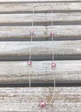 Italian Sterling Silver Necklace with Pink Murano Glass Beads 16inch Necklace
