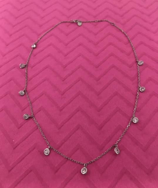 Italian Sterling Silver Necklace with Crystals