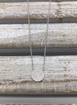 Italian Sterling Silver Necklace with Round CZ Pave Pendant