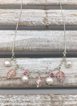 Sterling Silver Necklace with Pearls and Pink Murano Glass