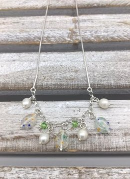 Sterling Silver Necklace with Pearls and Green Murano Glass